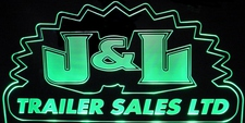 J & L Trailer Sales Advertising Business Logo Design Acrylic Lighted Edge Lit LED Sign / Light Up Plaque