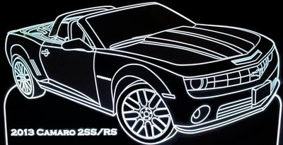 2013 Camaro 2SS RS Convertible Acrylic Lighted Edge Lit LED Sign / Light Up Plaque Full Size Made in USA