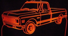 1971 Chevy Pickup Truck with Cab Lites Acrylic Lighted Edge Lit LED Sign / Light Up Plaque Chevrolet