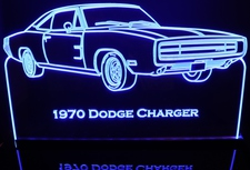 1970 Dodge Charger 500 Acrylic Lighted Edge Lit LED Car Sign / Light Up Plaque Full Size USA Original