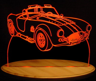 1965 Shelby Cobra Acrylic Lighted Edge Lit LED Sign / Light Up Plaque Full Size Made in USA