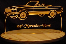 1976 Mercedes Benz Acrylic Lighted Edge Lit LED Car Sign / Light Up Plaque 76