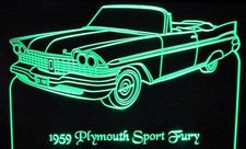 1959 Plymouth Sport Fury Convertible Acrylic Lighted Edge Lit LED Car Sign / Light Up Plaque