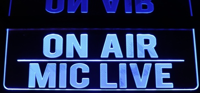 On Air - Mic Live Recording Home Studio Acrylic Lighted Edge Lit LED Sign / Light Up Plaque Full Size Made in USA