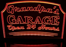 Grandpa's Garage Open 24 Hours Acrylic Lighted Edge Lit LED Sign / Light Up Plaque Full Size Made in USA