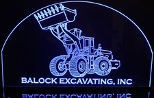 Digger Front End Loader (add your own text) Acrylic Lighted Edge Lit LED Sign / Light Up Plaque Full Size Made in USA
