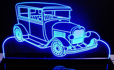 1928 Ford Model Acrylic Lighted Edge Lit LED Car Sign / Light Up Plaque