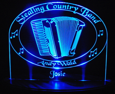 Accordian Logo Acrylic Lighted Edge Lit LED Sign / Light Up Plaque Full Size Made in USA