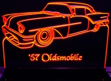1957 Oldsmobile Acrylic Lighted Edge Lit LED Car Sign / Light Up Plaque Olds