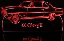 1966 Chevy II Acrylic Lighted Edge Lit LED Car Sign / Light Up Plaque