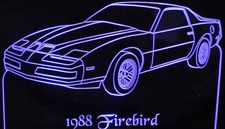 1988 Pontiac Firebird Acrylic Lighted Edge Lit LED Sign / Light Up Plaque Full Size Made in USA