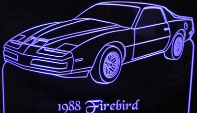 1988 Firebird Firebird Acrylic Lighted Edge Lit LED Sign / Light Up Plaque Full Size Made in USA