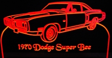 1970 Plymouth Super Bee with Spoiler Acrylic Lighted Edge Lit LED Car Sign / Light Up Plaque