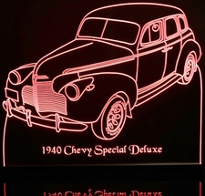 1940 Chevy Special Deluxe Acrylic Lighted Edge Lit LED Sign / Light Up Plaque Full Size Made in USA