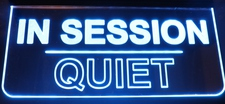 IN SESSION QUIET Recording Sign Ceiling Mount Acrylic Lighted Edge Lit LED Sign / Light Up Plaque Full Size Made in USA