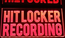 HIT LOCKER RECORDING Ceiling Mount Acrylic Lighted Edge Lit LED Sign / Light Up Plaque Full Size Made in USA