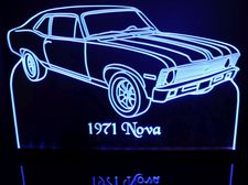 1971 Nova Acrylic Lighted Edge Lit LED Sign / Light Up Plaque Full Size Made in USA