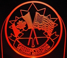 Vietnam Veterans Canada Acrylic Lighted Edge Lit LED Sign / Light Up Plaque Full Size Made in USA