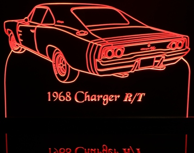 1968 Dodge Charger Rear View Acrylic Lighted Edge Lit LED Sign / Light Up Plaque Full Size Made in USA