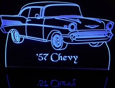 1957 Chevy Belair Acrylic Lighted Edge Lit LED Car Sign / Light Up Plaque Chevrolet Bel Air