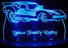 Race Car Trophy Acrylic Lighted Edge Lit LED Car Sign / Light Up Plaque