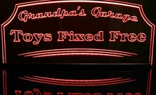 Grandpas Garage Toys Fixed Free Acrylic Lighted Edge Lit LED Sign / Light Up Plaque Full Size Made in USA