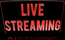 "Live Streaming recording sign 21"" x 12"" only Acrylic Lighted Edge Lit LED Sign / Light Up Plaque Full Size Made in USA"