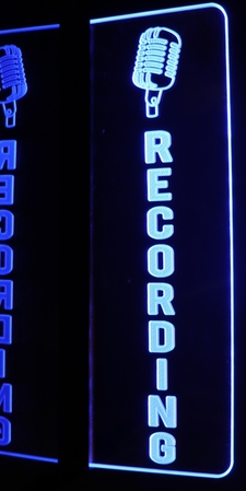 Recording + Mic Music Studio On the Air Acrylic Lighted Edge Lit LED Sign / Light Up Plaque Full Size Made in USA