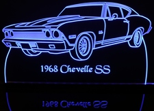 1968 Chevrolet Chevelle Acrylic Lighted Edge Lit LED Car Sign / Light Up Plaque 68 Chevy