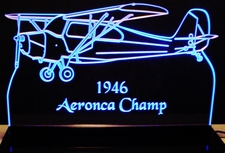 1946 Aeronca Champ Airplane Plane Acrylic Lighted Edge Lit LED Sign / Light Up Plaque Full Size Made in USA