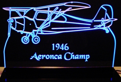 """1946 Airplane Acrylic Edge Lit 21/"""" Lighted Sign LED Plaque Mirr Made in the USA"""