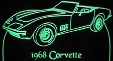 1968 Chevrolet Corvette Convertible Acrylic Lighted Edge Lit LED Car Sign / Light Up Plaque 68 Chevy