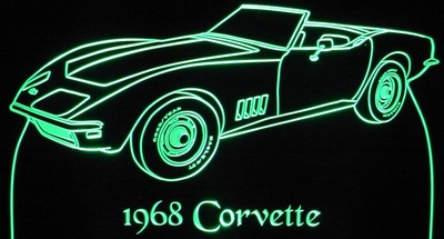 1968 Chevy Corvette Convertible Acrylic Lighted Edge Lit LED Sign / Light Up Plaque Full Size Made in USA