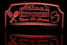 Alices Home Kitchen Open 24 Hours Acrylic Lighted Edge Lit LED Sign / Light Up Plaque Full Size Made in USA