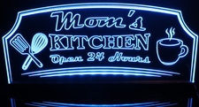 Mom's Kitchen Open 24 Hours Name sign Acrylic Lighted Edge Lit LED Sign / Light Up Plaque Full Size Made in USA