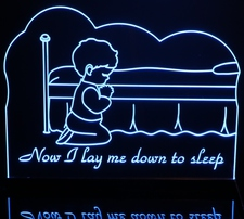 Boys Room Night Light Bed Prayers Now I Lay Me Down To Sleep Acrylic Lighted Edge Lit LED Sign / Light Up Plaque Full Size Made in USA