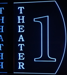 Theater Home Box Office Movie 1 Acrylic Lighted Edge Lit LED Sign / Light Up Plaque Full Size Made in USA
