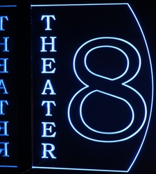 Theater Home Box Office Movie 8 Acrylic Lighted Edge Lit LED Sign / Light Up Plaque Full Size Made in USA