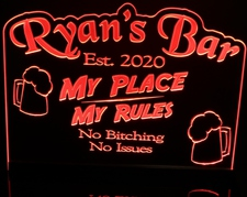 Bar My Place Ryan's Acrylic Lighted Edge Lit LED Sign / Light Up Plaque Full Size Made in USA