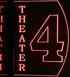 Theater Home Box Office Movie 4 Acrylic Lighted Edge Lit LED Sign / Light Up Plaque Full Size Made in USA