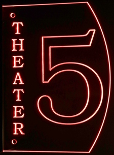 Theater Home Box Office Movie 5 Acrylic Lighted Edge Lit LED Sign / Light Up Plaque Full Size Made in USA