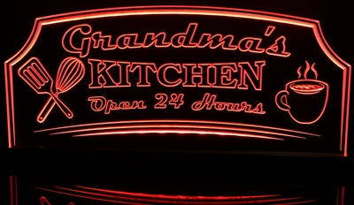 Grandma's Kitchen Coffee Utencils Open 24 Hours Acrylic Lighted Edge Lit LED Sign / Light Up Plaque Full Size Made in USA