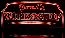 Joel's Work Shop Engine Pistons Automotive Acrylic Lighted Edge Lit LED Sign / Light Up Plaque Full Size Made in USA