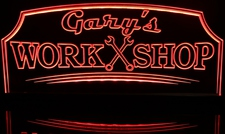 Gary's Work Shop Tools Wrenches Automotive (add your name) Acrylic Lighted Edge Lit LED Sign / Light Up Plaque Full Size Made in USA