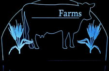 Farm Sample sign with cow & wheat (add your name) Acrylic Lighted Edge Lit LED Sign / Light Up Plaque Full Size Made in USA