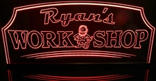 Ryan's Work Shop with cave man (add your name) Acrylic Lighted Edge Lit LED Sign / Light Up Plaque Full Size Made in USA