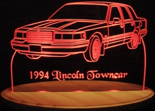 1994 Lincoln Towncar Acrylic Lighted Edge Lit LED Sign / Light Up Plaque Full Size Made in USA