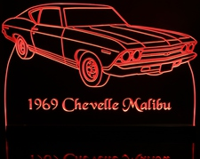 1969 Chevrolet Chevelle Malibu Acrylic Lighted Edge Lit LED Car Sign / Light Up Plaque 69 Chevy