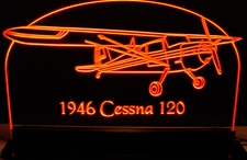 1946 Cessna 120 Acrylic Lighted Edge Lit LED Airplane Sign / Light Up Plaque  USA Original
