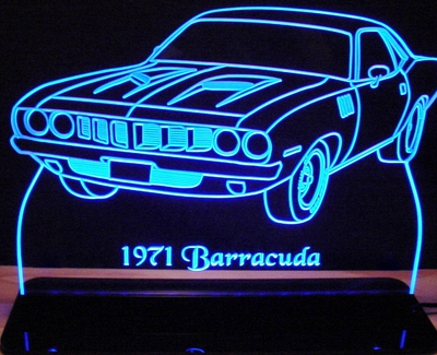 1971 Barracuda Acrylic Lighted Edge Lit LED Sign / Light Up Plaque Full Size Made in USA